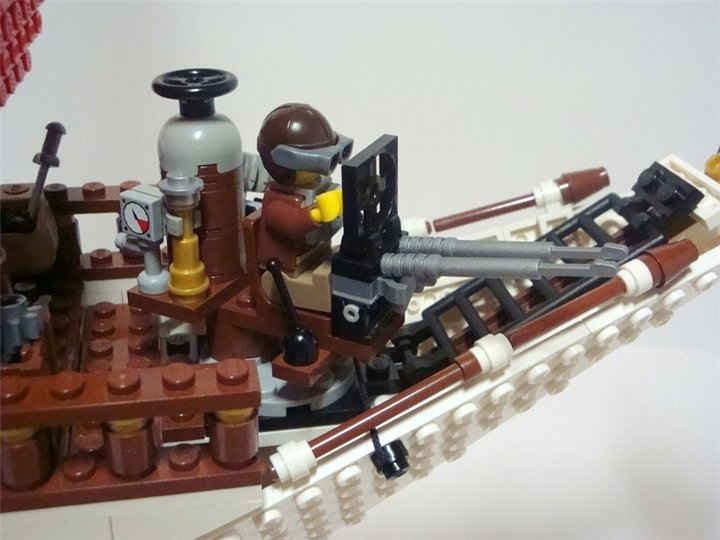 LEGO MOC - Steampunk Machine - Steampunk styled 'Scarlet Sails': Стрелок следит за небом.