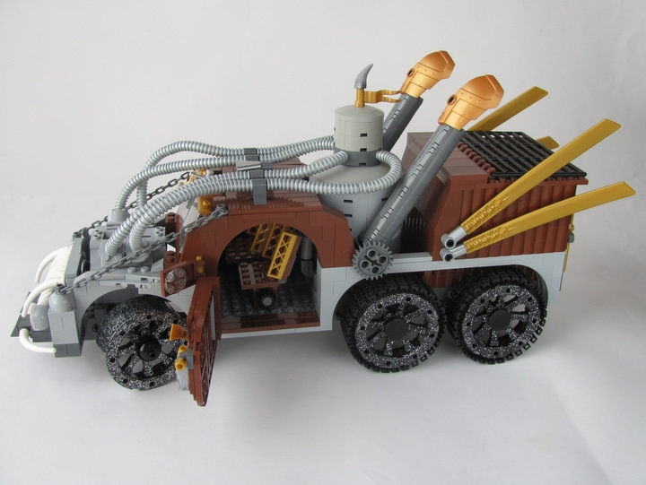 LEGO MOC - Steampunk Machine - Excalibur: <br><i>- On both sides of cabin there are wide convenient doors. And good rear-view mirrors.</i><br>