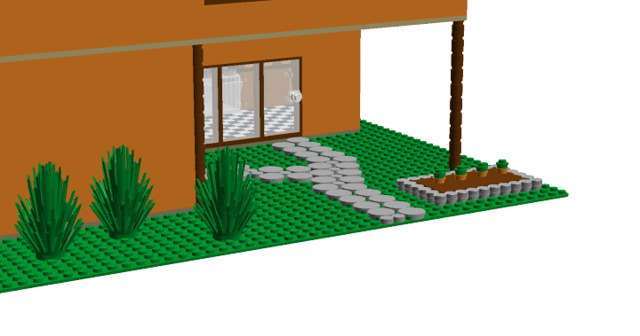 LEGO MOC - New Year's Brick 2014 - Modern mediterranean house.: A nice angle of the garden.