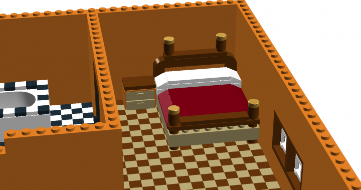 LEGO MOC - New Year's Brick 2014 - Modern mediterranean house.: The bed and the drawers.