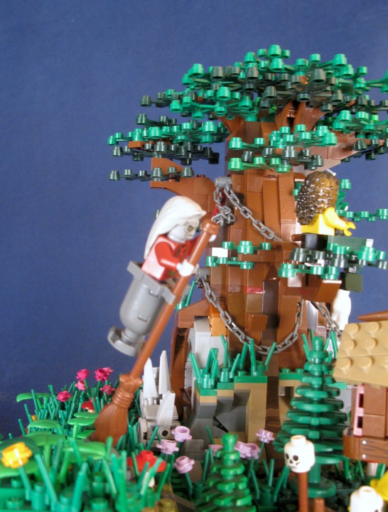 LEGO MOC - Russian Tales' Wonders - A green oak-tree by the lukomorye: Баба-яга в ступе...
